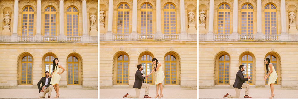 Surprise proposal at Versailles in Paris