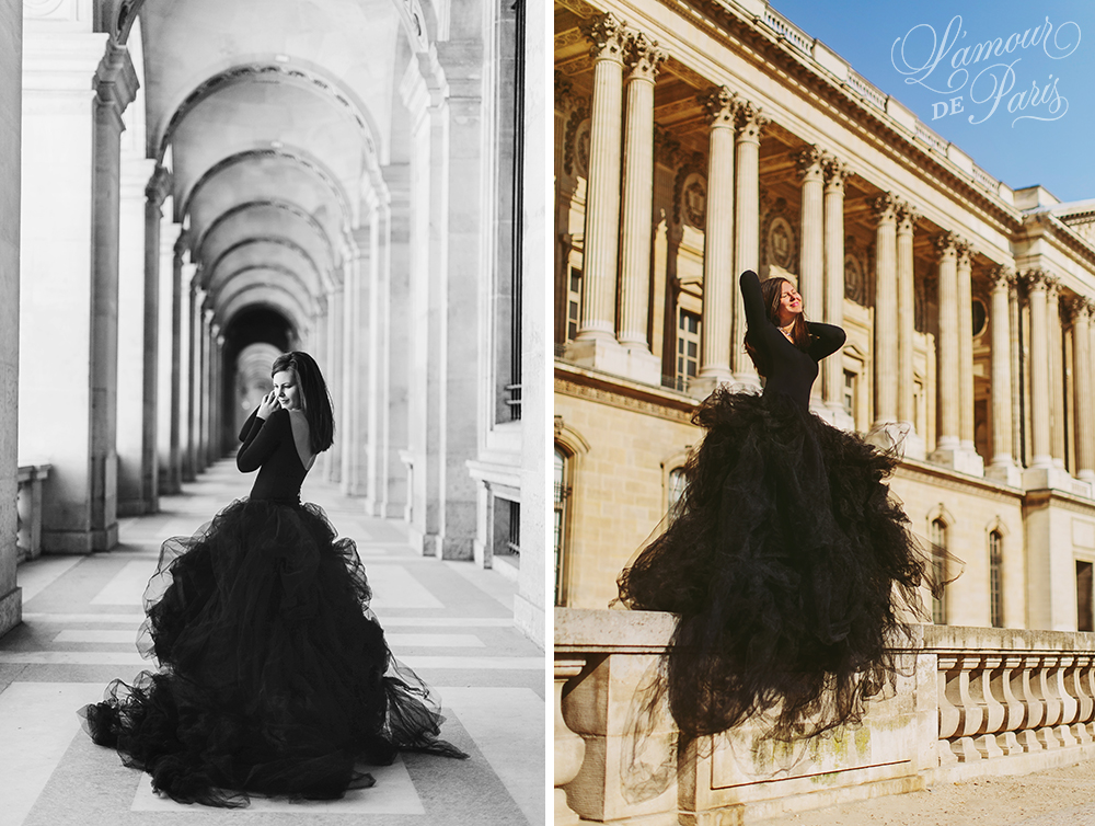 Glamorous black lace and tulle fashion gown photoshoot portait photo session in Paris near the Louvre and Eiffel Tower with Lauren Knight of Aspiring Kennedy