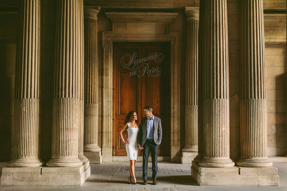 Beautiful romantic Paris portrait session at the Eiffel Tower and the Louvre
