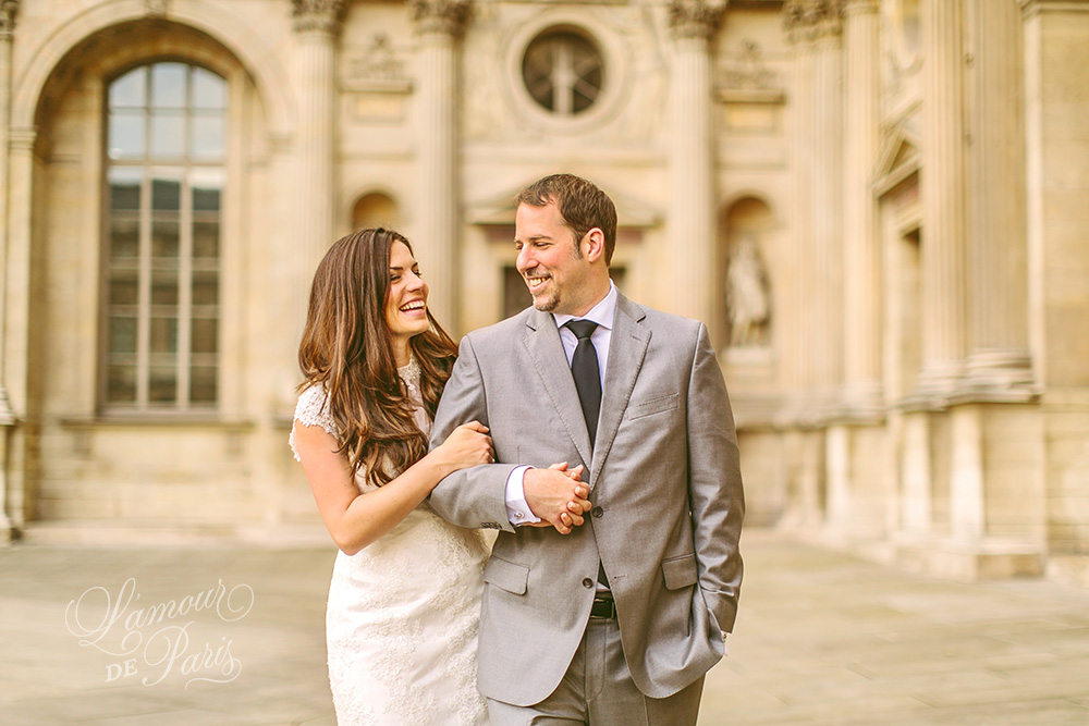 Romantic Paris elopement wedding at the Eiffel Tower, Louvre, Pont Alexandre III, and a Parisian cafe