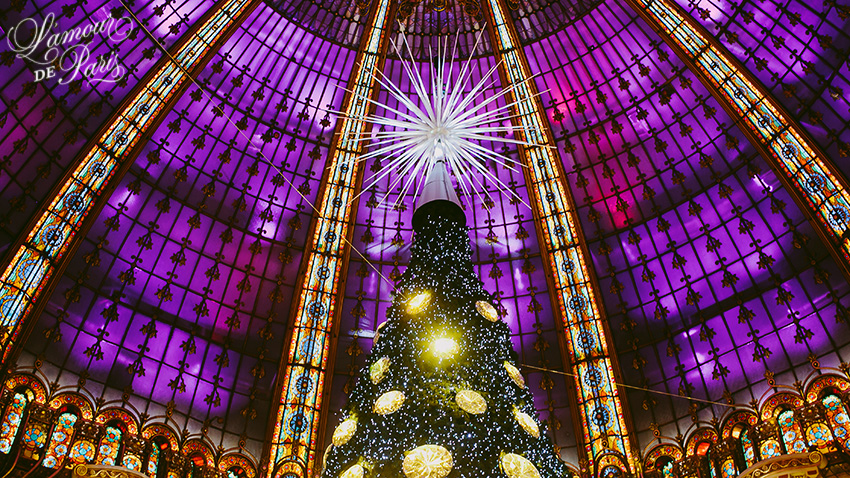 Swarovski Christmas tree in the Galeries Lafayette in Paris France, by Parisian photographer Stacy Reeves