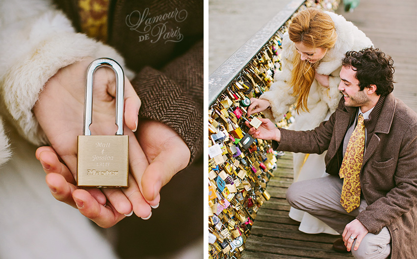 A couple locking their padlocks onto the Pont Des Arts bridge in Paris in a romantic tradition to celebrate their love.