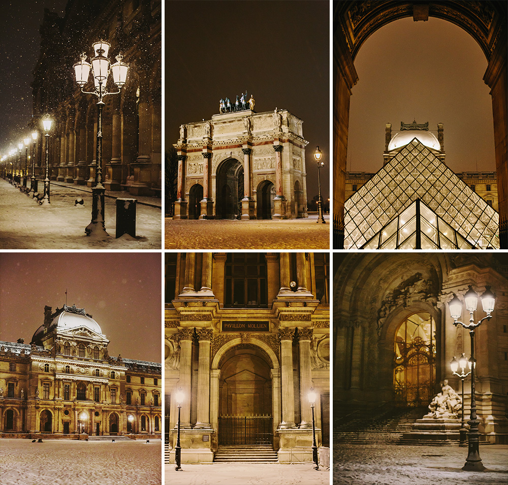Beautiful photos of snow at the Louvre in Paris