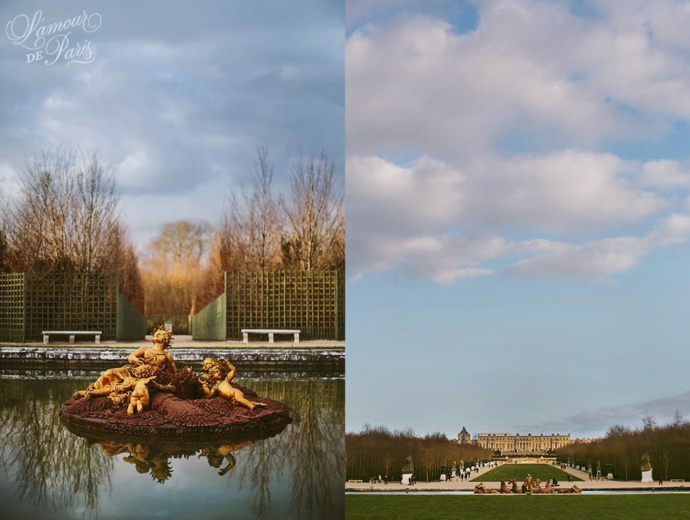 The gardens and fountains of Versailles outside of Paris France
