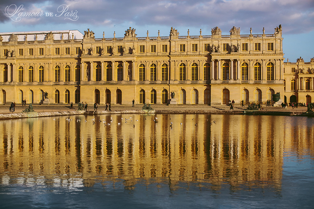 The grand chateau of Versailles outside of Paris France