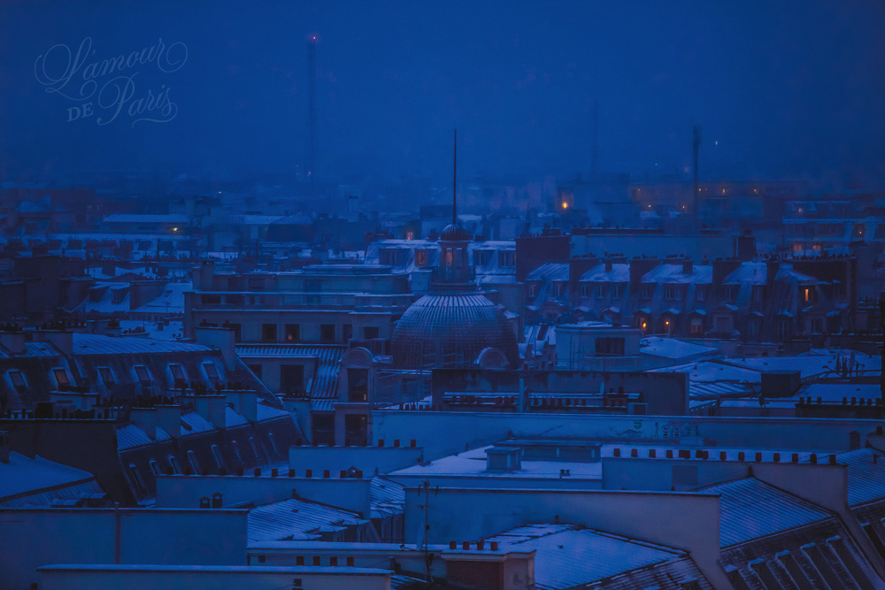 Snow covered rooftops of Paris photographed from the Galeries Lafayette terrace at night photographed by Stacy Reeves by Paris travel planning and photography blog L
