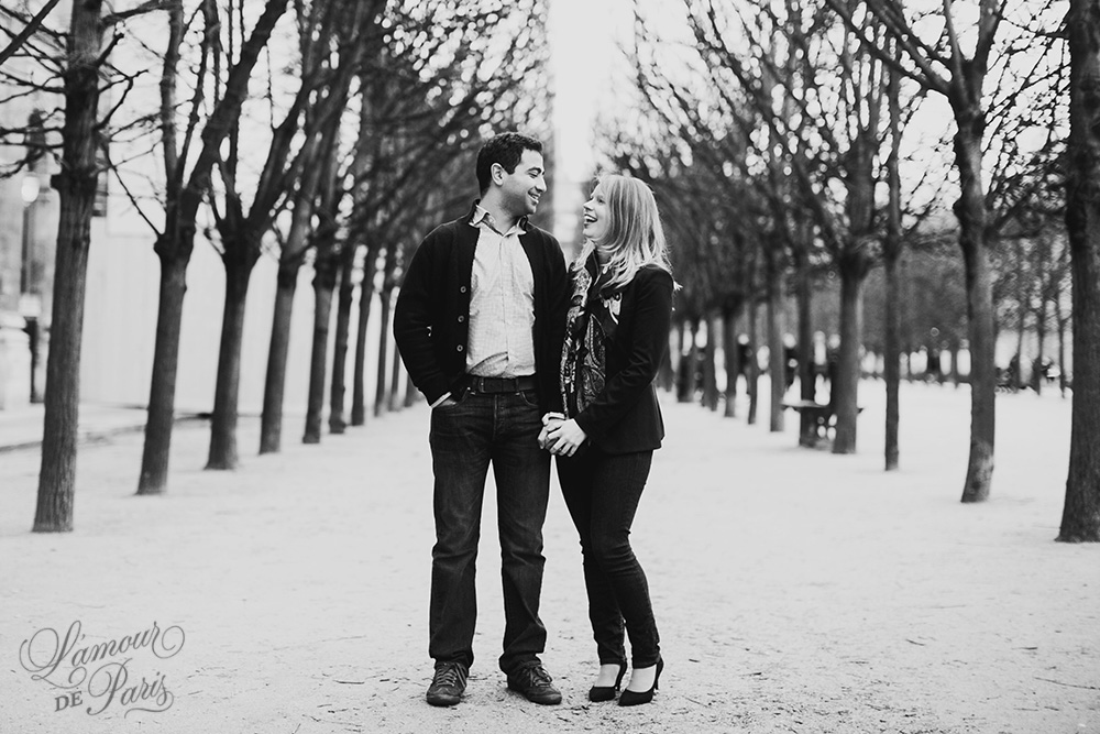 Romantic photo session of Allison and Ahmed around the Palais Royale and other historic landmarks of the City of Love by Paris portrait photographer Stacy Reeves for L