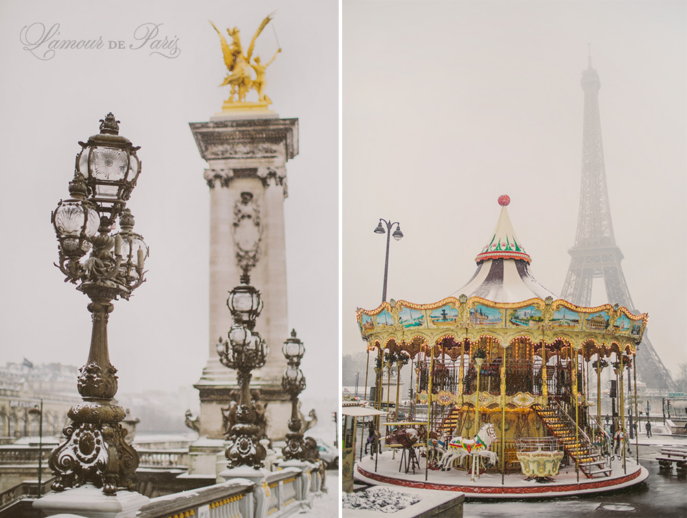 Beautiful photographs of Paris covered in snow in the winter, taken by France wedding and portrait photographer Stacy Reeves for travel planning blog L