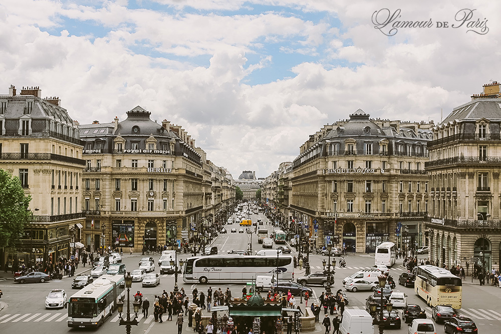View from the balcony of the Opera Palais Garnier in Paris France by wedding photographer Stacy Reeves for L