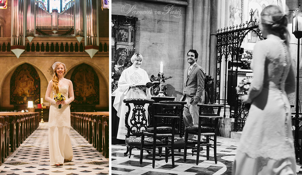 Photographs of an elopement ceremony at the American Cathedral in Paris by Paris wedding photographer Stacy Reeves for portrait photo studio and vacation planning blog L