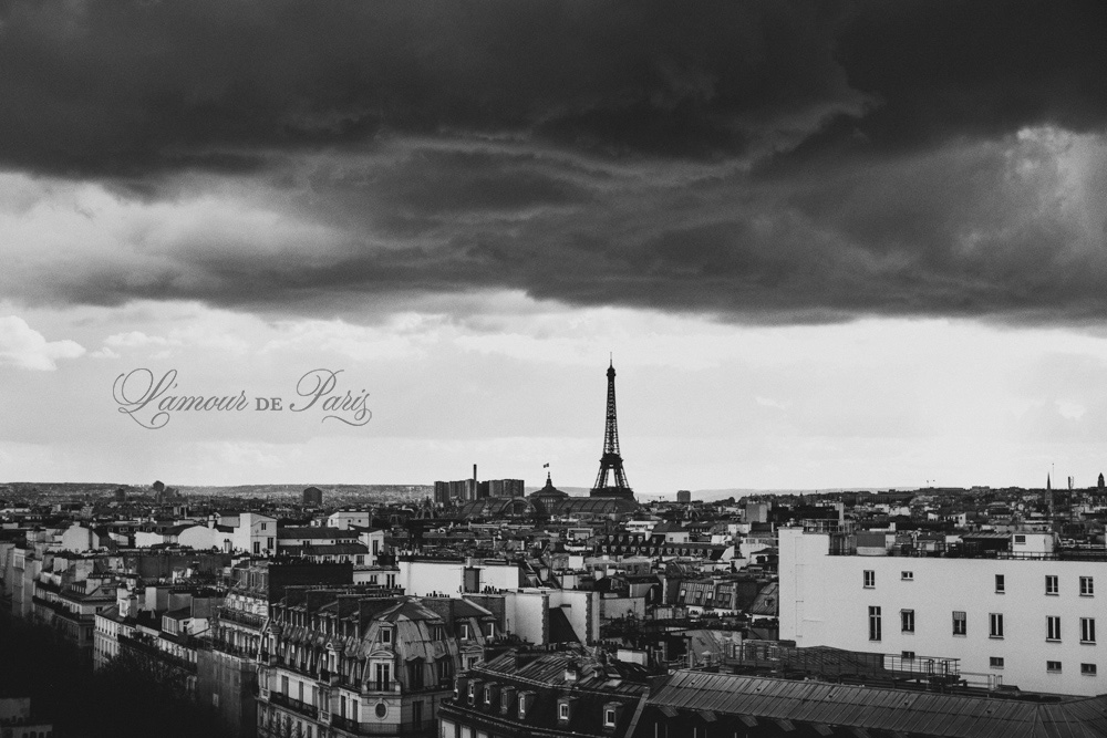 Black and white stormy Paris by wedding photographer Stacy Reeves