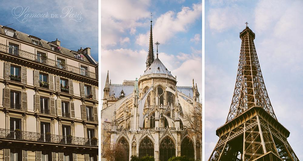 Paris architecture against a blue sky