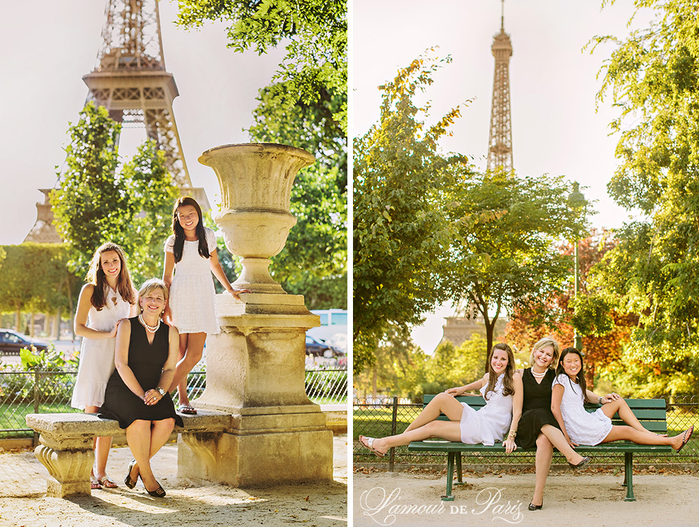 Family portrait session in front of the Eiffel Tower by Paris wedding photographer Stacy Reeves for travel planning blog L
