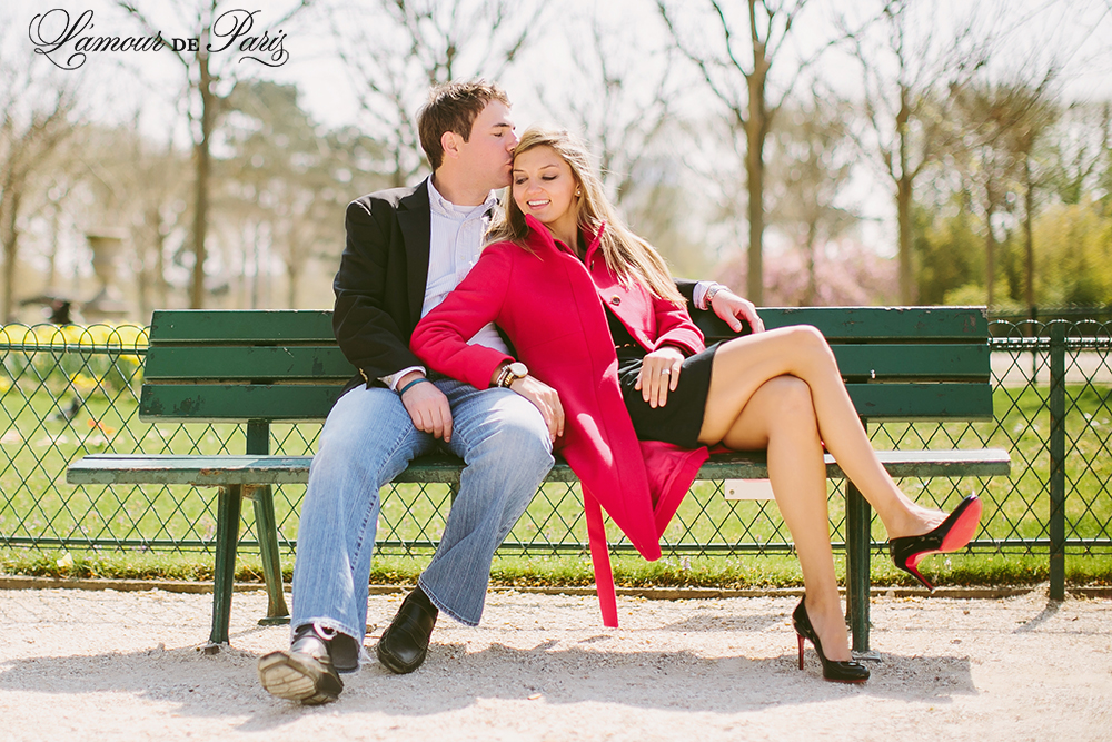 Romantic portraits at the Eiffel Tower in Paris by wedding photographer Stacy Reeves