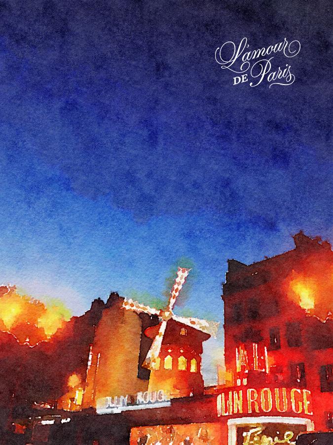 Paris Watercolor art of the Moulin Rouge