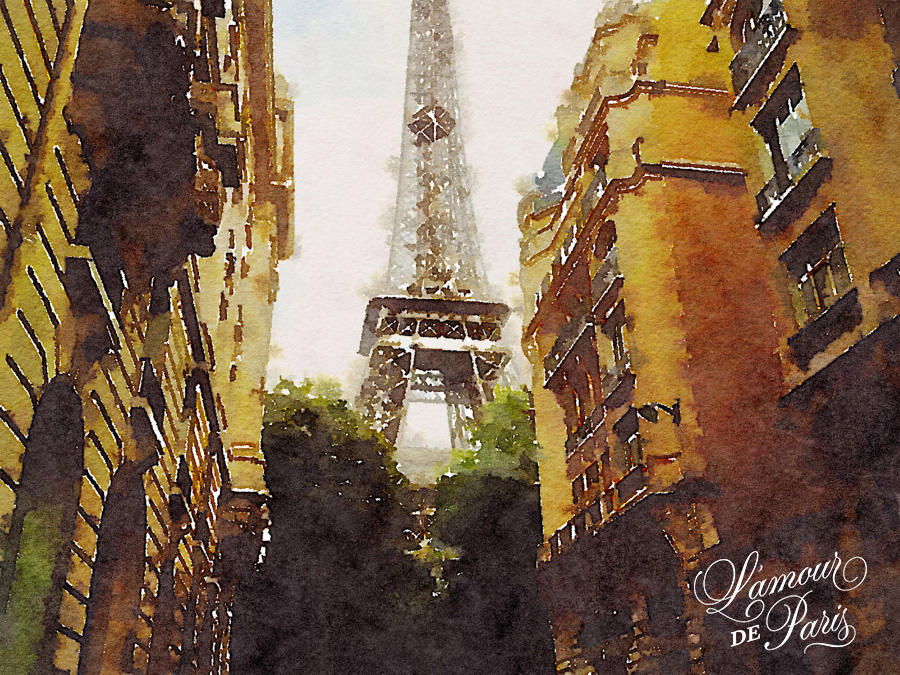 Paris Watercolor art of the Eiffel Tower
