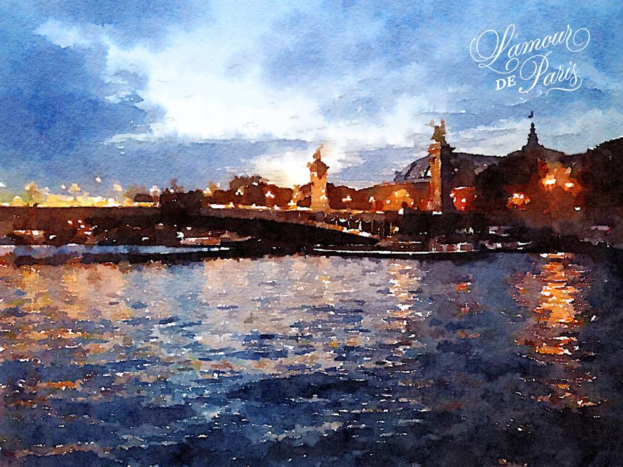 Paris Watercolor art of the River Seine