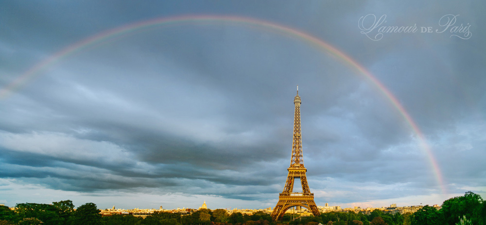 Rainbow over The Eiffel Tower in Paris