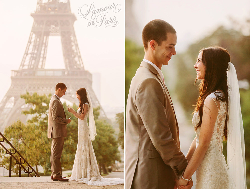 Beautiful Paris elopement wedding at the Eiffel Tower and the Louvre by Stacy Reeves for Lamour de Paris photographers