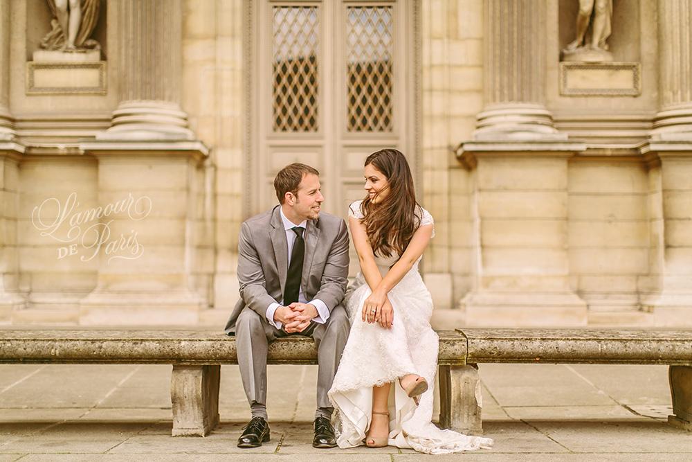 Romantic Paris elopement wedding at the Eiffel Tower, Louvre, Pont Alexandre III, and a Parisian cafe
