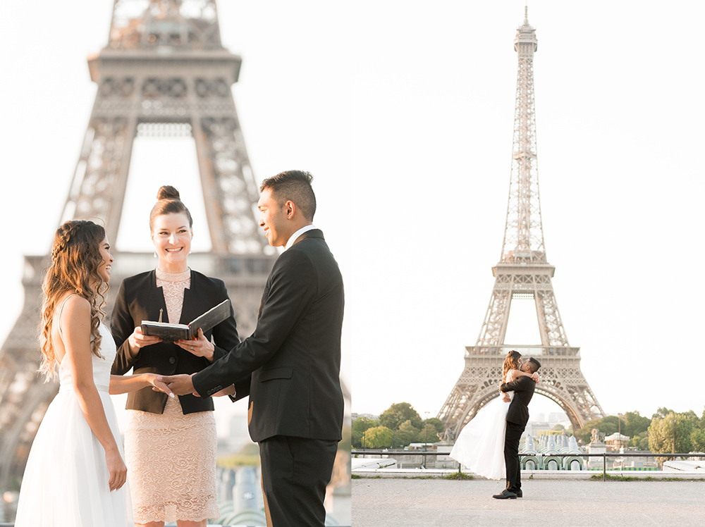 paris elopement at eiffel tower with officiant