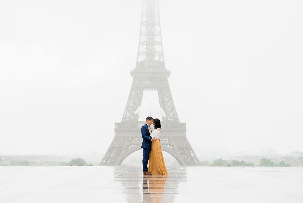paris in the rain at the eiffel tower
