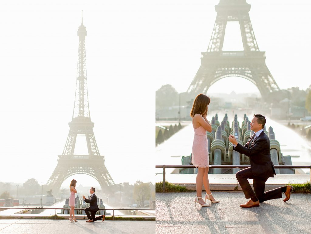 a wedding proposal by the eiffel tower in paris