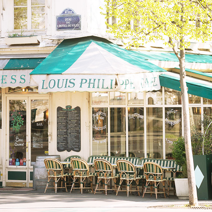 cafe louis philippe facade in paris